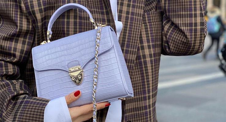Aspinal of London English Lavender Midi Mayfair Handbag
