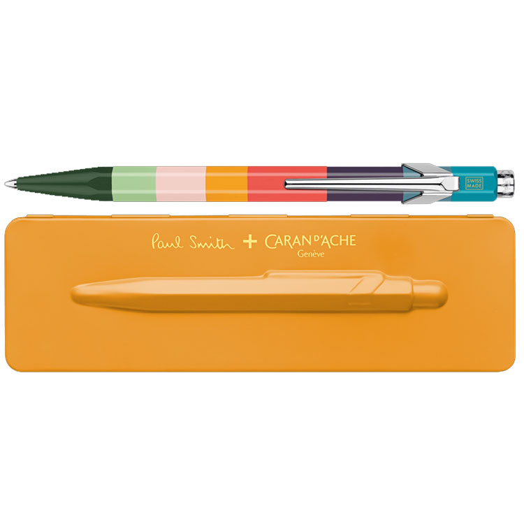 Paul Smith & Caran D'Ache 849 'Artist Stripe' Ballpoint Pen with Orange Case