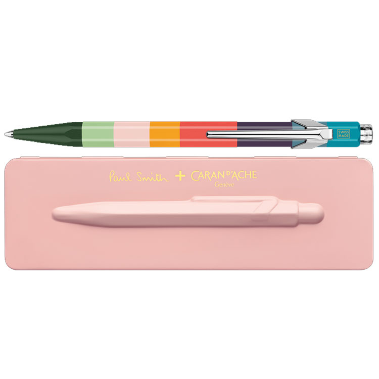 Paul Smith & Caran D'Ache 849 'Artist Stripe' Ballpoint Pen with Rose Pink Case