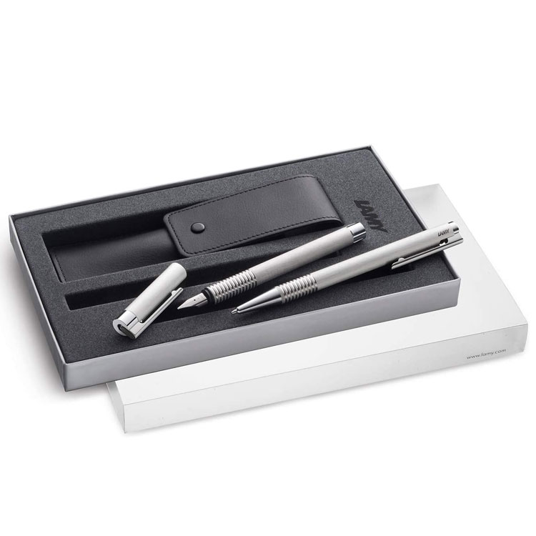 LAMY Brushed Stainless Steel Logo Fountain and Ballpoint Pen Set with Pen Case