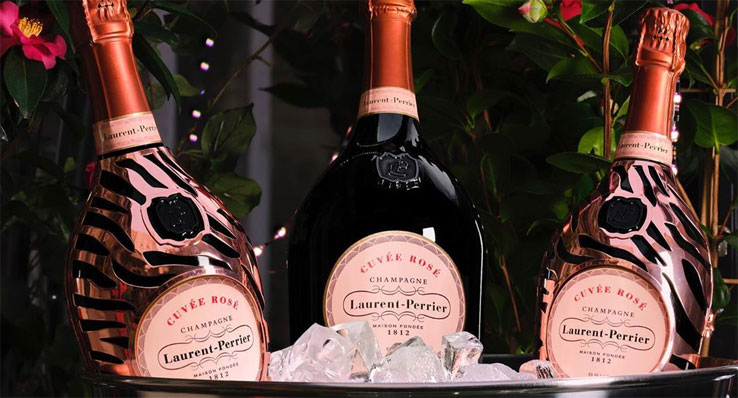 Laurent-Perrier champagne with matching ice bucket