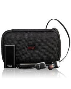 TUMI black wireless earbuds.