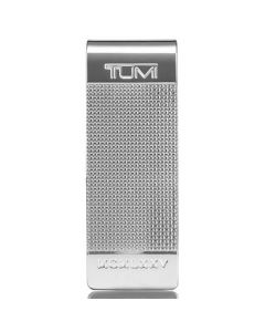 TUMI silver metal ballistic etched money clip in the Nassau collection.