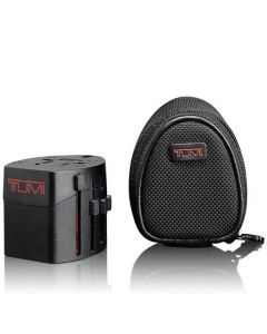 TUMI black electric adaptor with protective case.