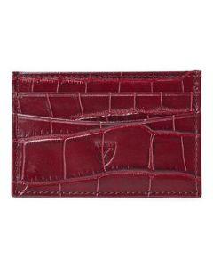 Aspinal of London bordeaux textured leather card holder.