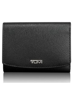 TUMI Sinclair black textured canvas tri-fold wallet.