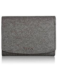 TUMI Sinclair grey textured canvas tri-fold wallet.