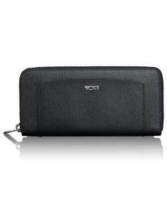 TUMI black textured canvas Continental purse in the Sinclair collection.