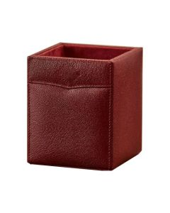 The Purdey London red/brown textured leather pen holder.