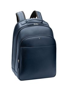 Angled view of the Montblanc Sartorial indigo backpack showing the side and front.
