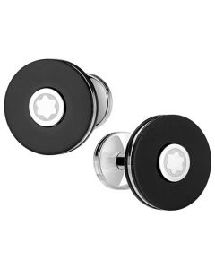 The Montblanc round black precious resin and stainless steel Pix cufflinks.