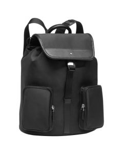 Montblanc Sartorial black nylon and leather backpack.