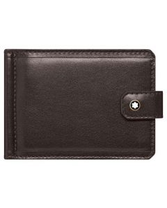 The Montblanc brown Heritage 6CC wallet with money clip inside.