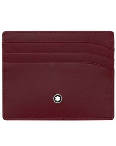 Front View of the Burgundy Meisterstück Leather Card Holder by Montblanc.