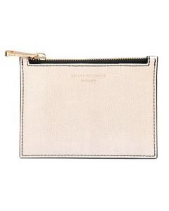 Aspinal of London monochrome small zipped pouch.