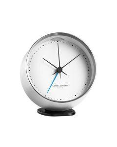The Georg Jensen HK white stainless steel alarm clock.