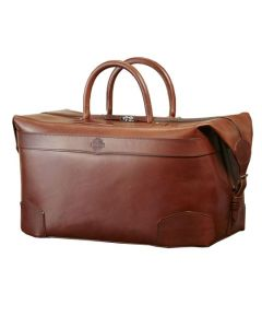The Purdey London havana brown smooth leather 48 hour holdall.