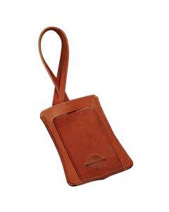 The Purdey London havana leather luggage tag.