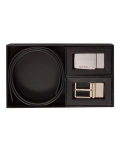 The Paul Smith belt buckle set with black leather belt strap.