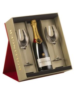Bollinger Special Cuvée Champagne Gift Set - 75cl Bottle with Two Bollinger Glasses.