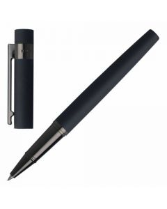 Hugo Boss Rollerball Pen in dark blue from the Loop Collection shown with cap removed.