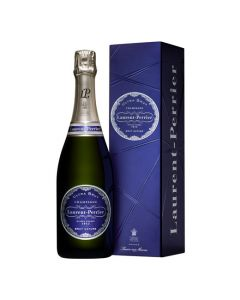 Bottle of Laurent Perrier Ultra Brut champagne comes in a blue giftbox.