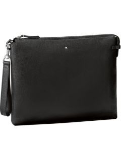 Front view of the Montblanc Meisterstück Soft Grain black made with black leather clutch.