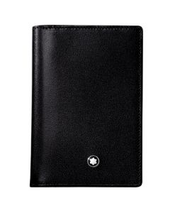 Montblanc Business Card holder comes in a black leather material.