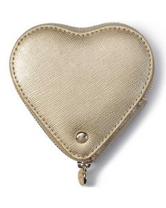 This is the Aspinal of London Gold Saffiano Leather Heart Coin Purse.