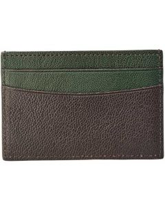 This is the Aspinal of London Chocolate & Green Goatskin 4CC Card Holder.