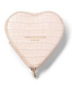 This is the Aspinal of London Shell Pink Mock Croc Leather Heart Coin Purse.