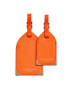 These are the Aspinal of London Bright Orange Saffiano Set of Two Luggage Tags.