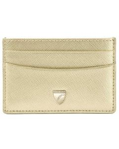 This is the Aspinal of London Gold 4CC Saffiano Slim Shield Card Holder.