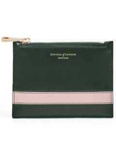 This is the Aspinal of London Small Essential Flat Pouch in Evergreen and Peony.