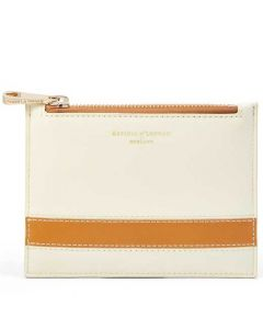 This is the Aspinal of London Small Essential Flat Pouch in Ivory and Mustard.