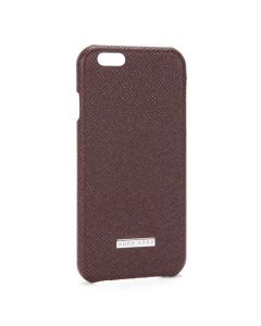 Front view of the Hugo Boss burgundy iPhone 6 Plus case showing the engraved metal plaque.