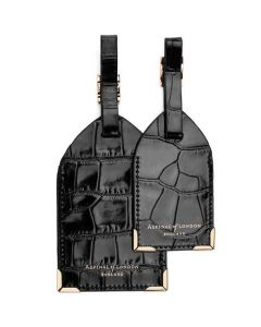 Front view of the Black Mock Croc Set of Two Luggage Tags from Apsinal of London.