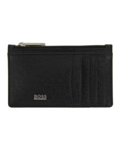 This is the BOSS Signature Black Palmellato Leather 5CC Zipped Card Holder.
