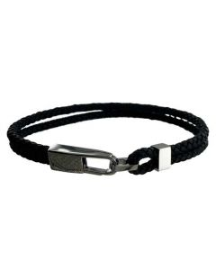 This Hugo Boss woven dark grey leather bracelet comes with a clasp locking method.