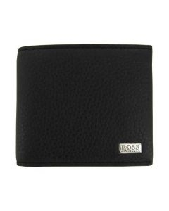 This Hugo Boss black leather wallet comes with the BOSS logo on the front.