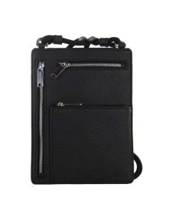 This Hugo Boss black pouch comes with zipped compartments on the back.