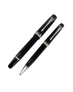 This Montblanc pen set comes with a fountain and ballpoint in black resin.