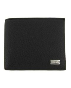 This Hugo Boss black leather wallet comes with the BOSS brand name on the front.