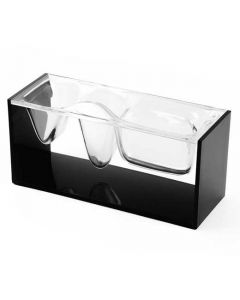 This black desktop organiser has been designed by Lexon as part of their Liquid collection.