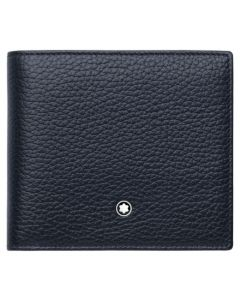 The Montblanc Meisterstück navy blue leather 4CC wallet with coin case.