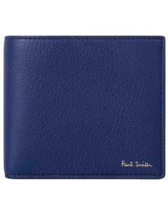 This Paul Smith blue leather wallet comes with the brand name embossed on the front.