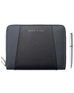 This is the BOSS Keystone Grey A5 Conference Folder & Chrome Gear Ballpoint Pen Set.