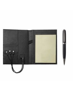 This is the Hugo Boss Advance Black A5 Folder with Ballpoint Pen and Power Bank.
