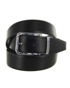 This Hugo Boss smooth black leather belt comes with a shiny silver buckle.