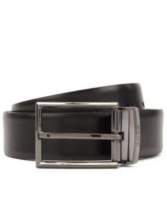 This is the Hugo Boss Reversible Black Leather Belt with Pin and Plaque Buckles.